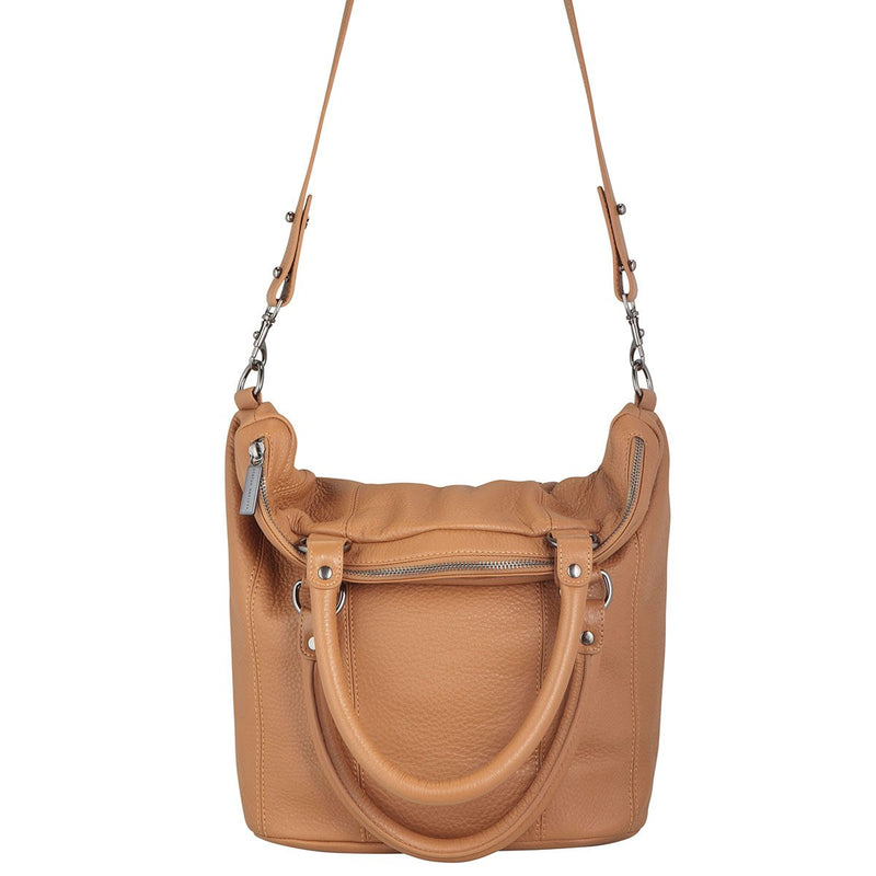 Status Anxiety Some Secret Place Bag - Tan Womens handbag / Slouchy style tote / Full grain Italian pebble leather / Outside iPhone pocket / Large internal zipper zone / open pocket and iPhone pocket / 38cm (high) x 27cm (wide at base) and 35cm (wide at top) x 13cm (thick) / Comes in a Status Anxiety soft material drawstring bag
