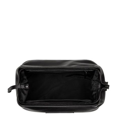 STATUS ANXIETY LIABILITY TOILETRIES BAG  The Status Anxiety Liability Toiletries Bag is the perfect bag to hold all our personal items like makeup, skincare, straighteners and more - particularly when travelling. The Liabilities Toiletries Bag is Unisex and waterproof. It is crafted from a beautiful Black soft shrunken leather.