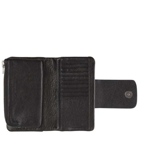 STATUS ANXIETY THE FALLEN WALLET  The Status Anxiety The Fallen Wallet is perfect for those whom love a larger wallet. It features a strong magnet snap closure, detachable purse and internal phone divider. The Fallen Wallet is crafted from a beautiful black full grain Italian bubble leather.