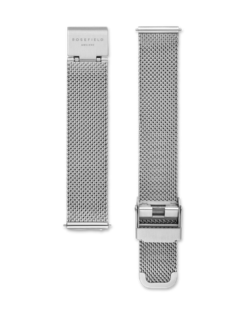 Rosefield Strap - Tribeca Silver Mesh Watch strap / Stainless steel / Silver with silver clasp / 33mm length  16mm width / Interchangeable with the straps within the Tribeca, West Village, Upper East Side and September Issue collection