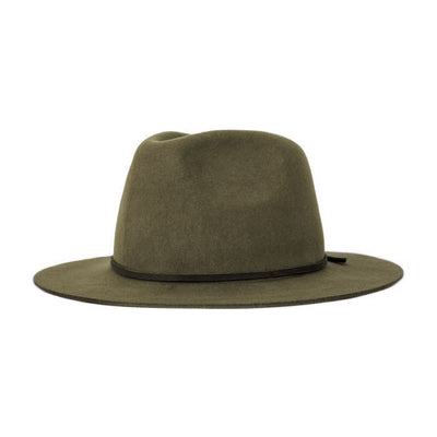 The Brixton Wesley Fedora is a modern take on the classic fedora. The Wesley Fedora has a relaxed silhouette, making this hat comfortable, malleable and adjustable if desired. The Wesley Fedora features a medium sized flat brim, and a leather band around the base finishing at the back with a gentle tie. The Brixton Wesley Fedora is crafted using soft woolen felt this hat feels luxe to the touch, this gorgeous hat is a perfect trans-seasonal piece and moves effortlessly between the seasons.