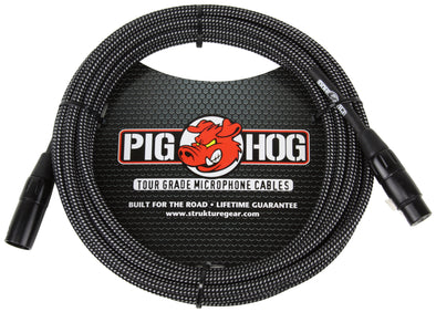 Pig Hog Black & White Woven Mic Cable, 30ft XLR