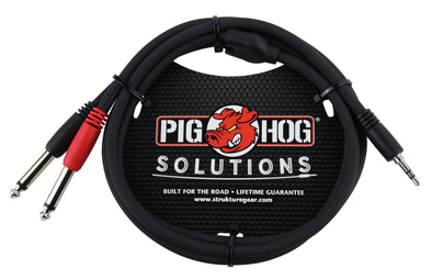 Pig Hog Solutions - 3ft Stereo Breakout Cable, 3.5mm to Dual 1/4""