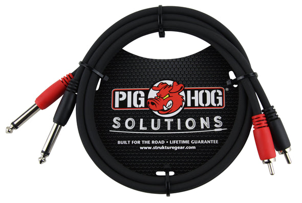 "Pig Hog Solutions - 3ft RCA-1/4"" Dual Cable"