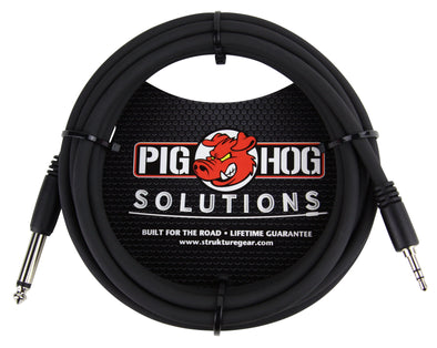 "Pig Hog Solutions - 10ft 3.5mm TRS to 1/4"" Mono"