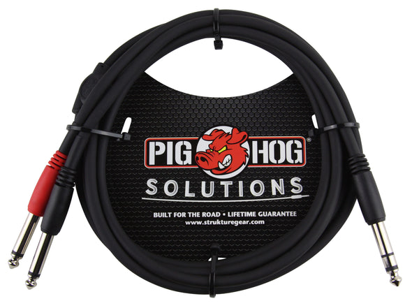"Pig Hog Solutions - 6ft TRS(M)-Dual 1/4"" Insert Cable"