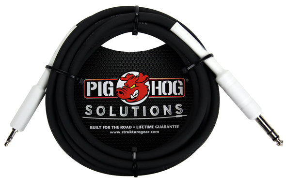 "Pig Hog Solutions - 1/4"" TRS to 1/8"" mini, 10ft"