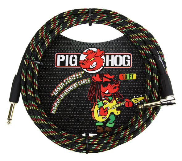 "Pig Hog ""Rasta Stripes"" Instrument Cable, 10ft Right Angle"