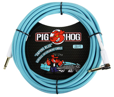 "Pig Hog ""Daphne Blue"" Instrument Cable, 20ft Right Angle"
