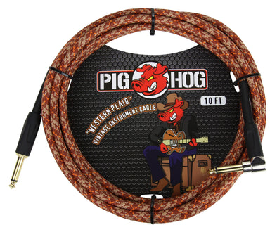 "Pig Hog ""Western Plaid"" Instrument Cable, 10ft Right Angle"