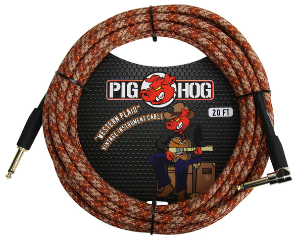 "Pig Hog ""Western Plaid"" Instrument Cable, 20ft Right Angle"