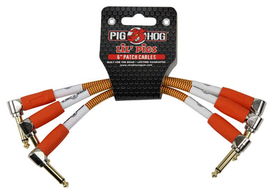 "Pig Hog Lil Pigs Vintage ""Orange Cream"" 6in Patch Cables - 3 pack"