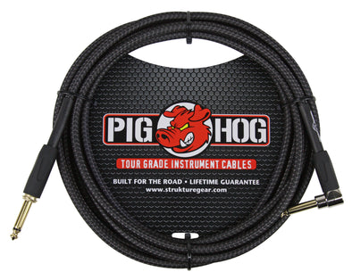 "Pig Hog ""Black Woven"" Instrument Cable, 10ft Right Angle"
