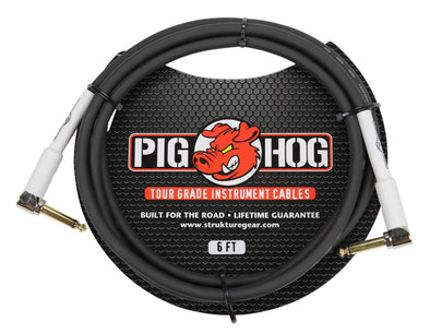 "Pig Hog 6ft 1/4"" Right Angle - 1/4"" Right Angle 8mm Inst. Cable"