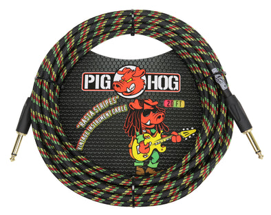 "Pig Hog ""Rasta Stripes"" Instrument Cable, 20ft"