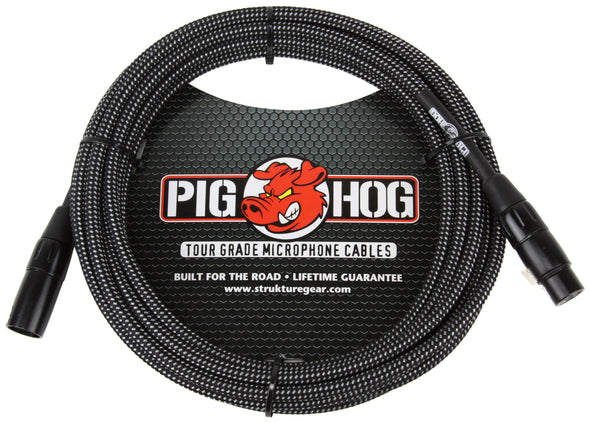 Pig Hog Black & White Woven Mic Cable, 10ft XLR