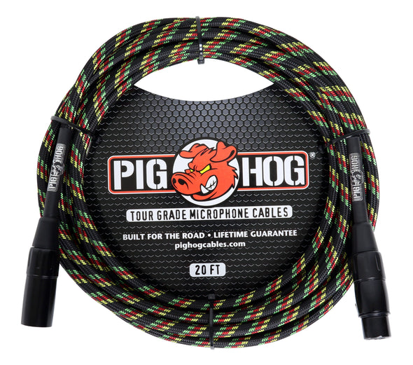 "Pig Hog ""Rasta Stripes"" Woven Mic Cable, 20ft XLR"