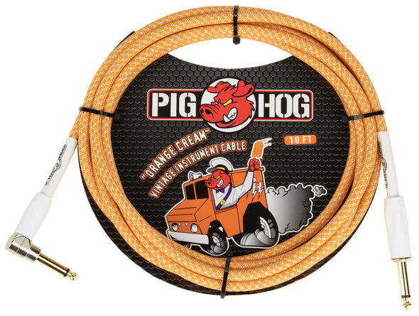 "Pig Hog ""Orange Crème 2.0"" Instrument Cable, 10ft Right Angle"