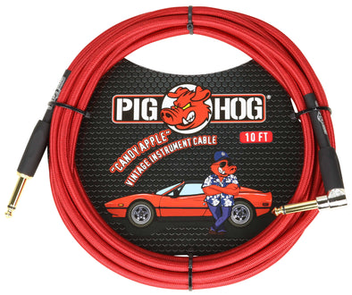 "Pig Hog ""Candy Apple Red"" Instrument Cable, 10ft Right Angle"