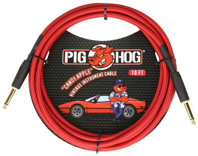 "Pig Hog ""Candy Apple Red"" Instrument Cable, 10ft"
