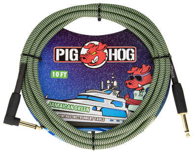 "Pig Hog ""Jamaican Green"" Instrument Cable, 10ft Right Angle"