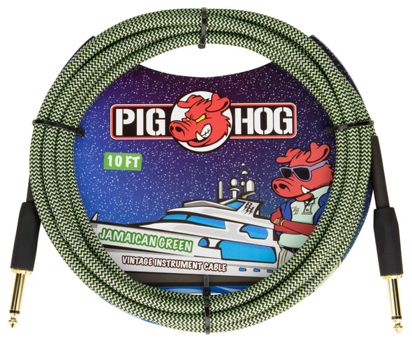 "Pig Hog ""Jamaican Green"" Instrument Cable, 10ft"