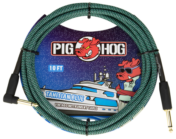 "Pig Hog ""Tahitian Blue"" Instrument Cable, 10ft Right Angle"