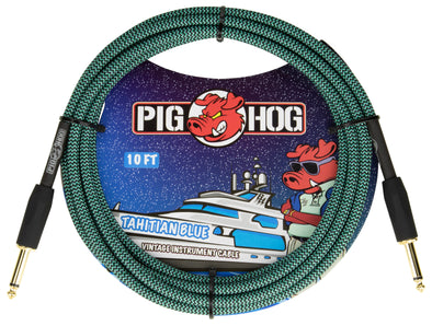 "Pig Hog ""Tahitian Blue"" Instrument Cable, 10ft"