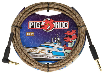 "Pig Hog ""Tuscan Brown"" Instrument Cable, 10ft Right Angle"