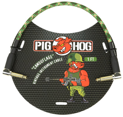 "Pig Hog ""Camouflage"" 1ft Right Angled Patch Cable"
