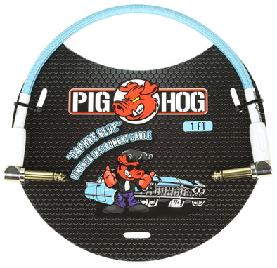 "Pig Hog ""Daphne Blue"" 1ft Right Angled Patch Cable"