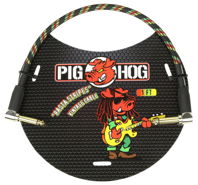 "Pig Hog ""Rasta Stripe"" 1ft Right Angled Patch Cable"