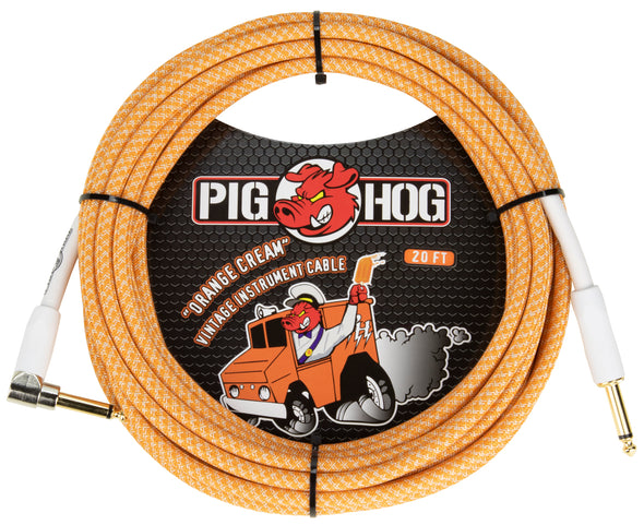 "Pig Hog ""Orange Crème 2.0"" Instrument Cable, 20ft Right Angle"