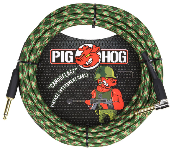 "Pig Hog ""Camouflage"" Instrument Cable, 20ft Right Angle"