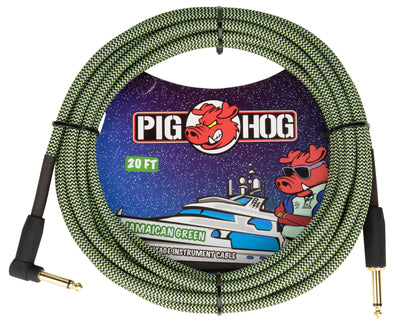 "Pig Hog ""Jamaican Green"" Instrument Cable, 20ft Right Angle"