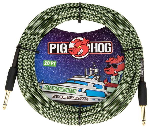 "Pig Hog ""Jamaican Green"" Instrument Cable, 20ft"