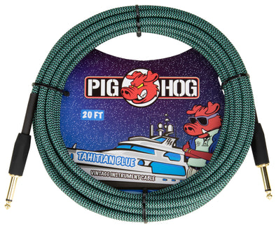 "Pig Hog ""Tahitian Blue"" Instrument Cable, 20ft"