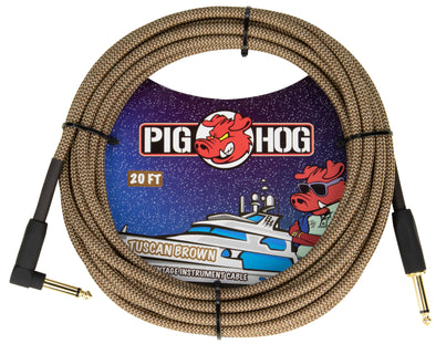 "Pig Hog ""Tuscan Brown"" Instrument Cable, 20ft Right Angle"