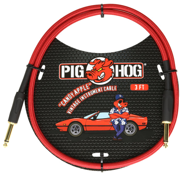 "Pig Hog ""Candy Apple Red"" 3ft Patch Cable"