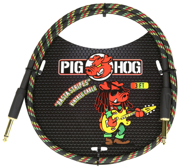 "Pig Hog ""Rasta Stripe"" 3ft Patch Cable"