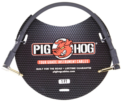"Pig Hog 1ft 1/4"" Right Angle - 1/4"" Right Angle 8mm Inst. Cable"