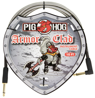 "Pig Hog ""Armor Clad"" Instrument Cable, 10ft Right Angle"