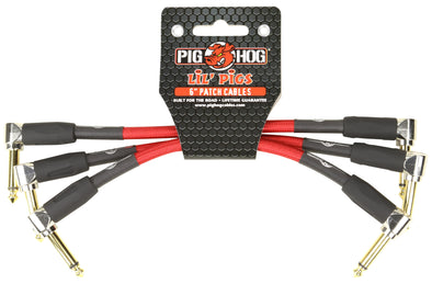"Pig Hog Lil Pigs Vintage ""Candy Apple"" 6in Patch Cables - 3 pack"
