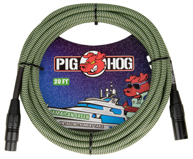 "Pig Hog ""Jamaican Green"" Woven Mic Cable, 20ft XLR"