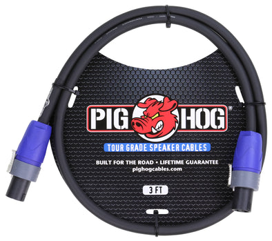Pig Hog Speaker Cable, 3ft (14 gauge wire), SPKON to SPKON