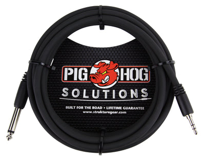 "Pig Hog Solutions - 5ft 3.5mm TRS to 1/4"" Mono"