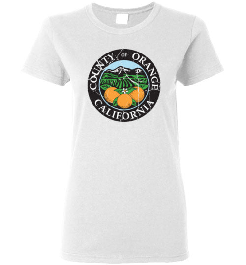 Orange County California Seal Distressed Design Ladies T-shirt
