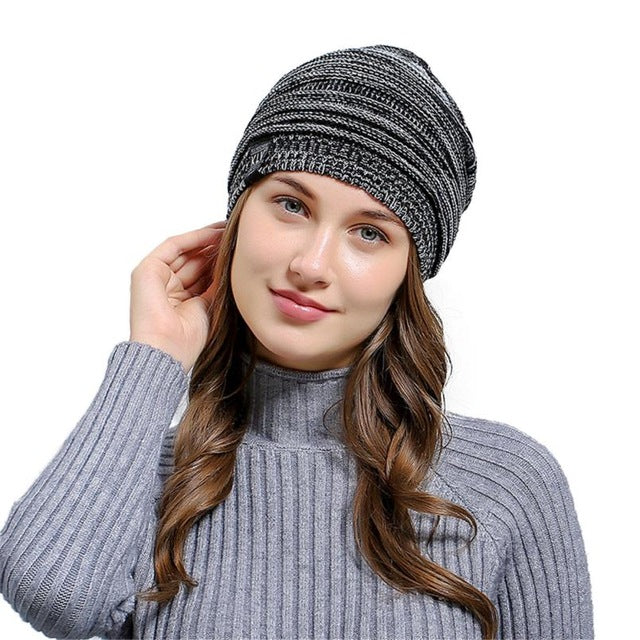 c55ae1b36a4 Wrinkle Winter Warm Hood knitted Wool Beanies Cap Women Men Outdoor Baggy  Patchwork Crochet Ski Beanie