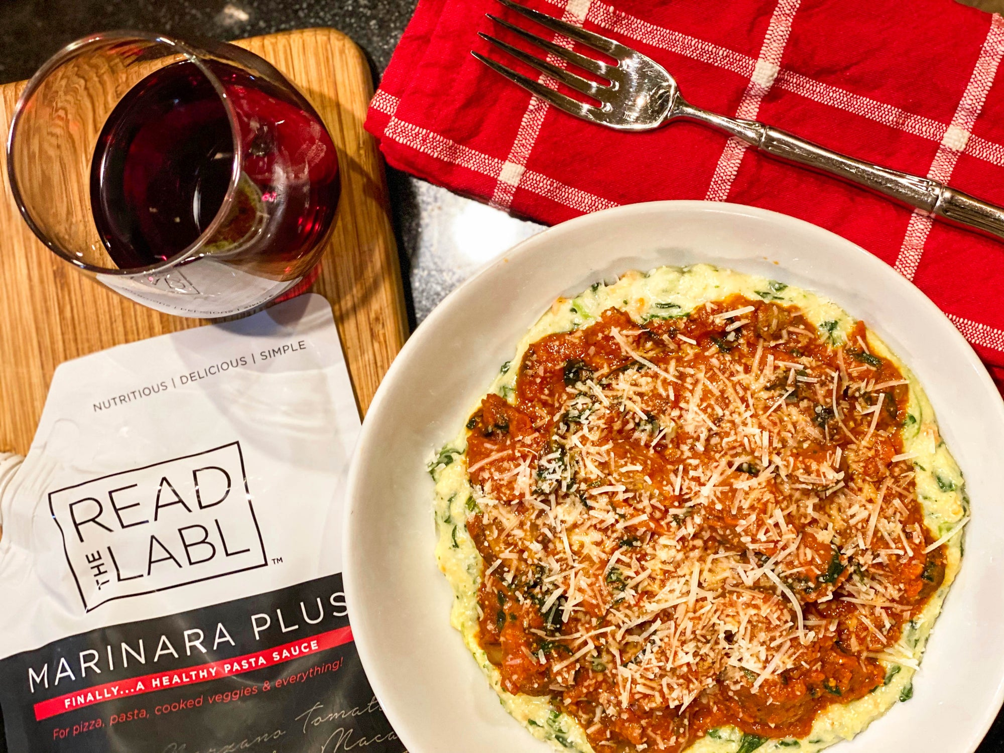 RECIPE: Marinara Plus Italian Meatballs with Spinach & Polenta