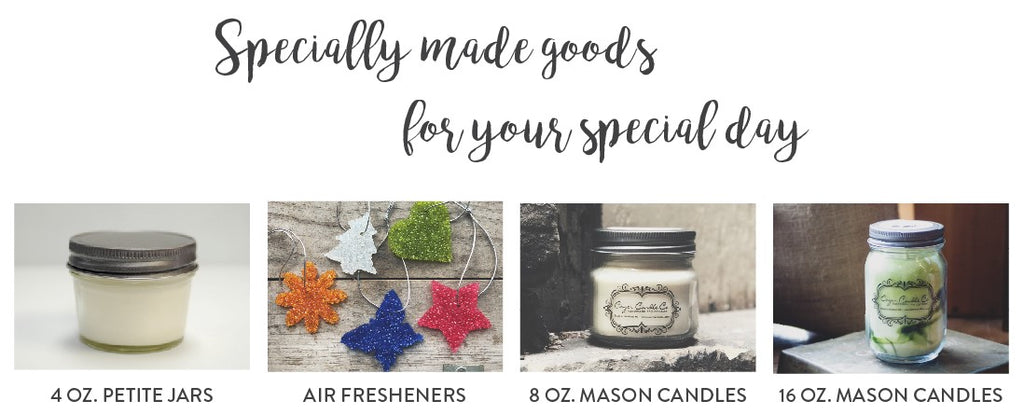 Custom Candles and Air Fresheners for your Wedding or Baby Shower